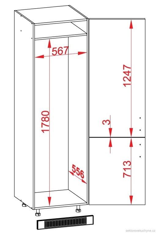 DL-60/207-P/P dolní skříňka pro vestavné spotřebiče kuchyně Tafne