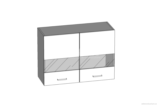 Horní skříňka 80 se sklem kuchyň Eliza (EZ6/G80W)
